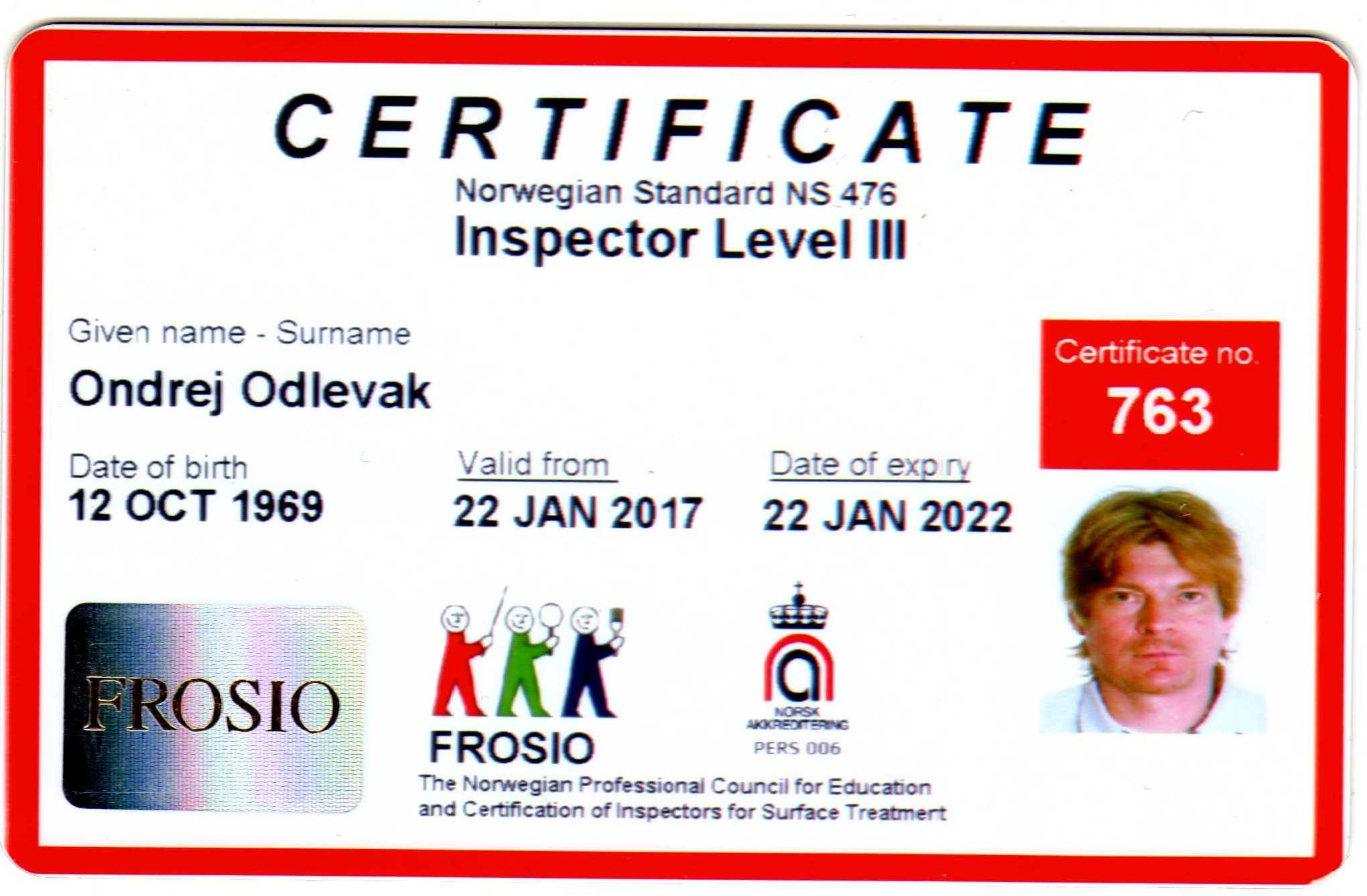 Ing. Ondřej Odlevák - FROSIO inspektor