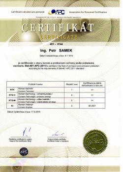 Ing. Petr Samek - korozní inženýr - Certifikát APC